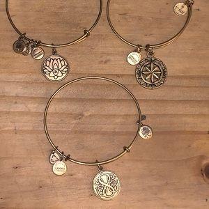 3 Alex Ani Gold Bracelets Compass Lotus Path Life
